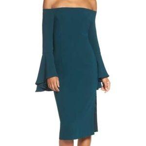 Bardot 'Solange' Off the Shoulder Midi Dress TEAL